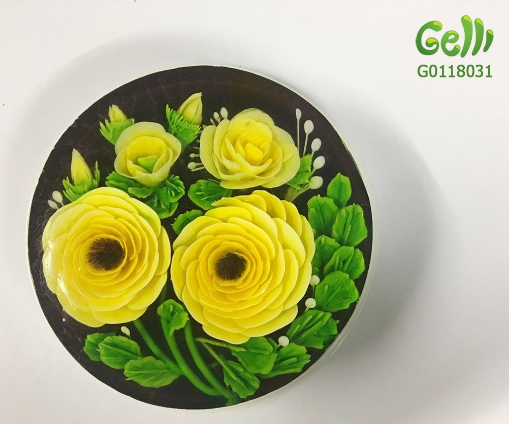 Bánh Sinh Nhật Rau Câu Hoa Hồng Vàng
