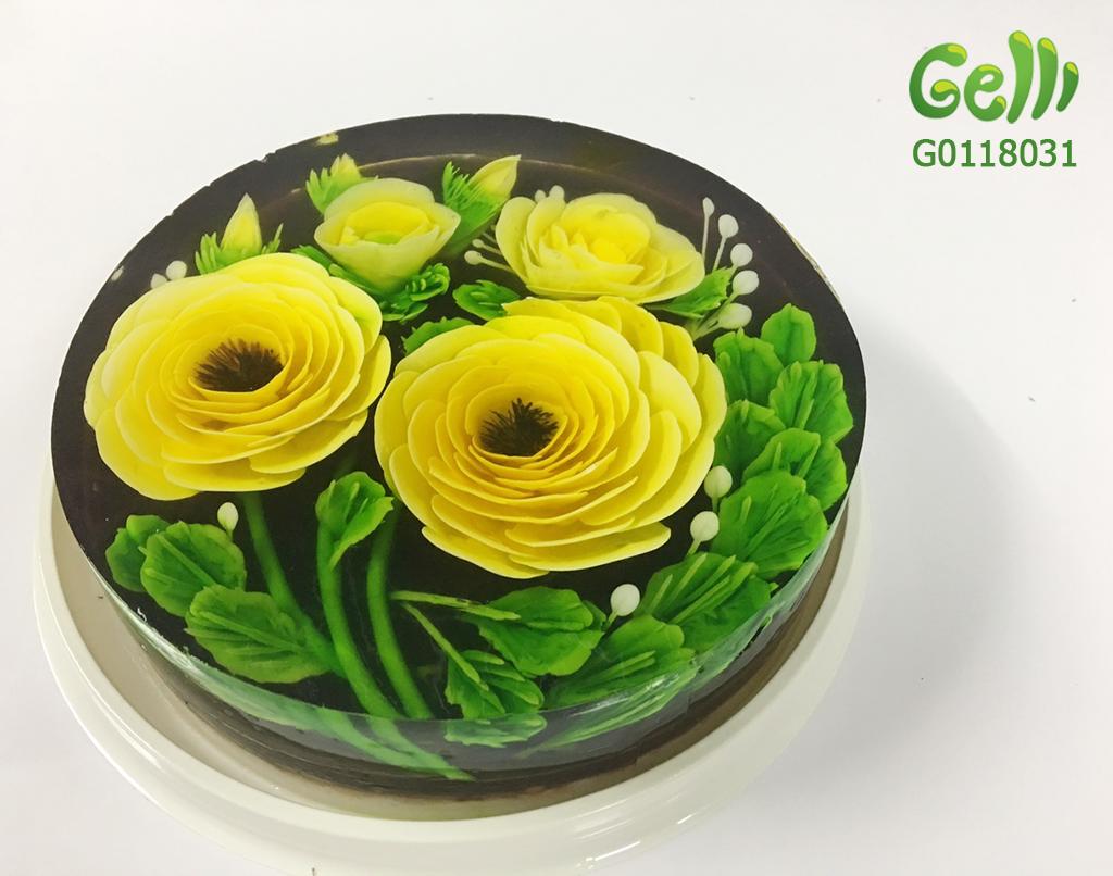 Bánh Sinh Nhật Rau Câu Hoa Hồng Vàng 1