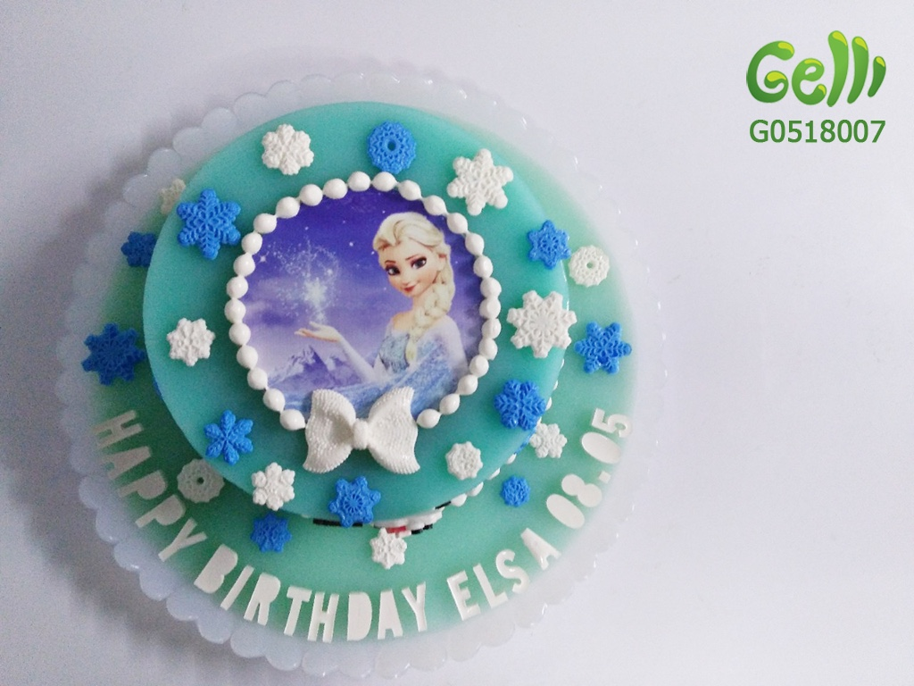 Bánh Sinh Nhật Rau Câu 2D Nữ Hoàng Elsa